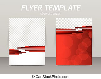 Abstract flyer template design with red stripes