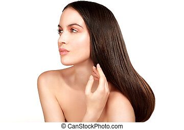 Beauty model showing per