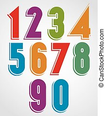 Colorful comic animated numbers with white outline.