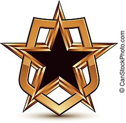 Vector glorious glossy design element, luxury 3d golden star...