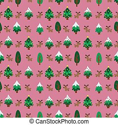 Christmas theme pinetree and reindeer seamless pattern -...