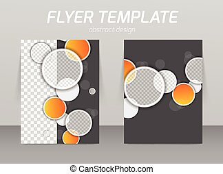 Abstract flyer template design with circles in gray and...
