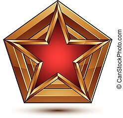 Branded golden geometric symbol, stylized star with red...