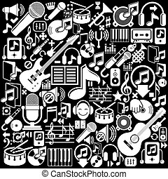 Set of musical elements, vector white isolated musical icons...