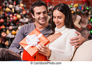 What a great surprise! Beautiful young woman opening a gift box and smiling while her boyfriend sitting close to her on the couch with Christmas decoration in the background