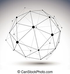 Spherical abstract single color lined 3D illustration,...