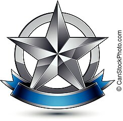 Sophisticated vector emblem with silver glossy star and blue...