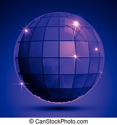 Grained plastic purple flash globe, bright geometric glisten...