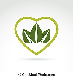 Green leaves in the shape of crown placed on a heart. Vector con