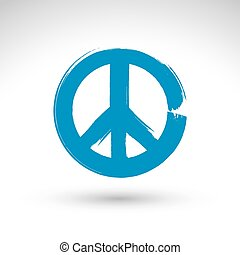 Hand drawn simple vector peace icon, brush drawing blue...