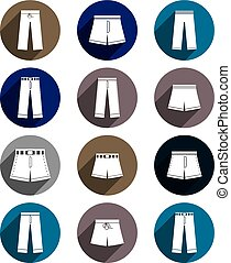 Man jeans and shorts vector icon set.