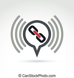 Podcast icon with a link symbol. Chat on social...