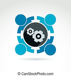 Vector illustration of gears - enterprise system theme,...
