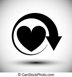 Heart conceptual vector simple single color icon.