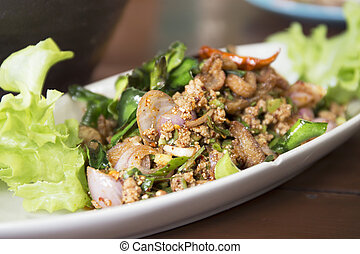 duck mince Larb with spicy taste, Thai food