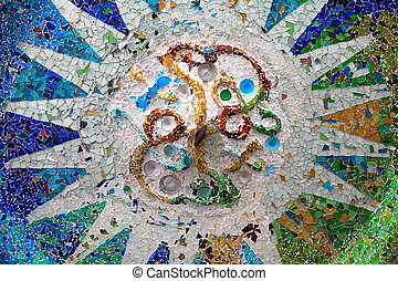 Park Guell - Barcelona, Spain - Old ceramic tiles in Park...