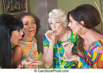 Middle Aged Pot Addicts - Laughing group of women smoking a...