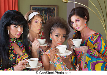Serious Women Drinking Tea - Serious group of 1970s style...