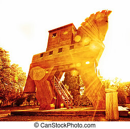 Trojan Horse at Sunset - Wooden Horse Reconstruction at Troy...