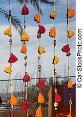 Colorful window tassels