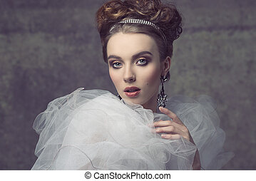 romantic dame with tiara - charming female wearing like...