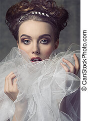 woman with aristocratic romantic style - close-up shoot of...