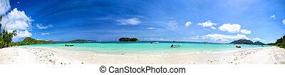 Seychelles beach panorama - Cote D'Or Beach ( Anse Volbert )...