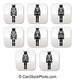 Christmas nutcracker - soldier - Vector modern buttons set...