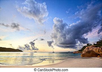 Anse Lazio at sunset - Sunset time at Anse Lazio beach,...