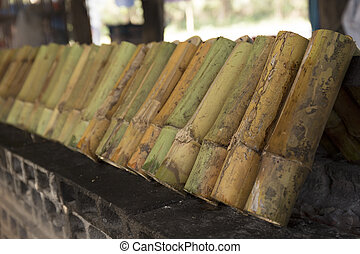 rice roasted in bamboo joints, sticky rice soaked in coconut...