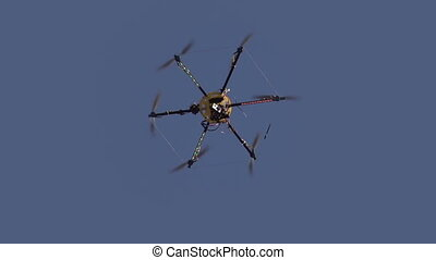 Hexacopter Drops Slowly - Radio controlled hexacopter flying...