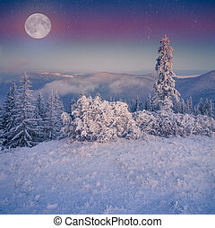 Rising moon over frosty winter mountains