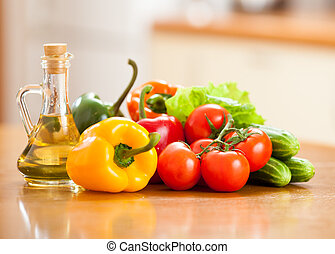 fresh healthy vegetables on table