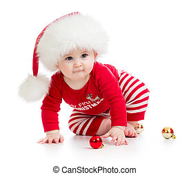 baby weared santa clothes isolated - baby girl weared santa...