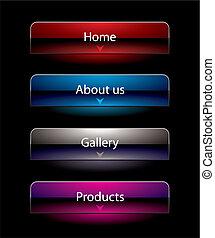 site web, noir, vue, Style, boutons, ensemble, Gabarit