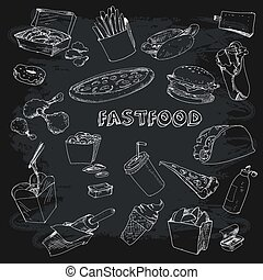 Fastfood collectionon chalkboard - Fastfood collection. Set...