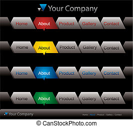 Website buttons template on black