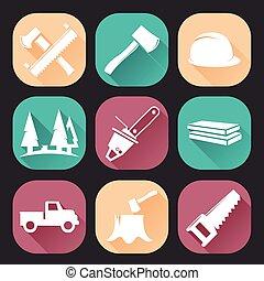 Lumberjack woodcutter icons set isolated on dark background....