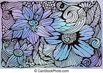 Vector Funky Pattern with Flowers