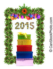 Christmas card with a christmas ornamen 2015 - Christmas...