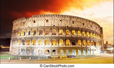 Colosseum at sunset in Rome, Time lapse