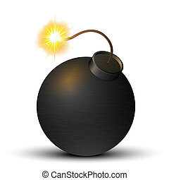 Black bomb isolated on a white background