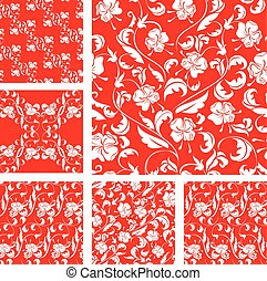 Set of Vintage ornate seamless patterns with white roses...