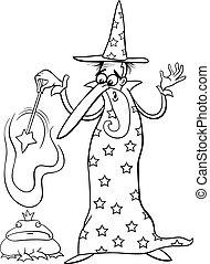 wizard fantasy cartoon coloring page