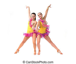 Salsa dancing - Two female salsa dancers in colorful dresses...