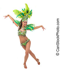 Samba dancer - Female samba dancer wearing colorful costume...
