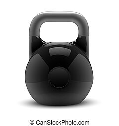 Realistic classic kettlebell isolated on white background....