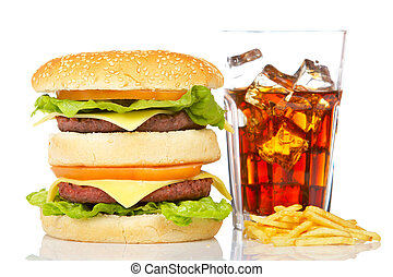 Double cheeseburger, soda and french fries - Double...