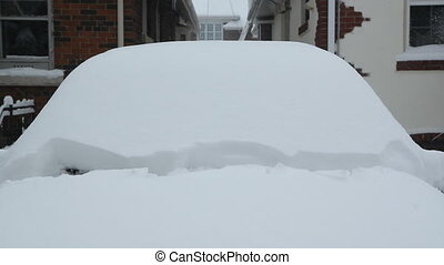 Winter wipers clearing thick snow. - Starting a snow covered...