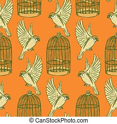 Sketch bird and cage seamless pattern